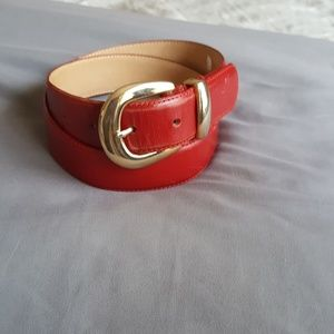 Genuine Leather gold buckle and red belt